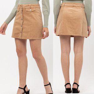 Boho Corduroy Button-Down Mini Skirt {Montrez}